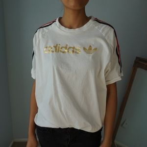 Vintage Adidas Gold Spellout Trifold T Shirt